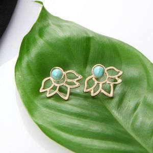Jewelry - Turquoise + Gold Lotus Flower Ear Jacket Earrings